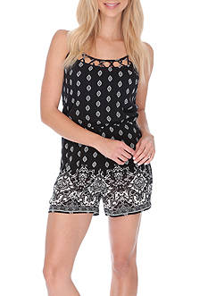 Lucky Brand Printed Shorts Romper