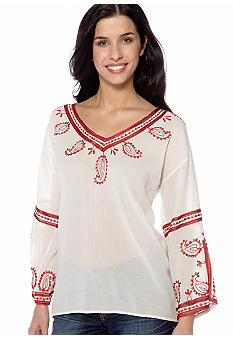 Lucky Brand Topango Days Embroidered Top