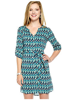 Lucky Brand Vailea Shirt Dress with Self Tie Waistband