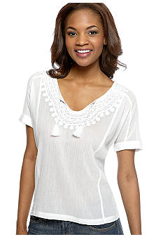 Lucky Brand Embroidered Amrosio Tassel Top