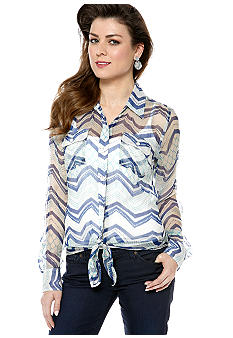 Lucky Brand Terrenea Stripe Sheer Chiffon Button Down Blouse