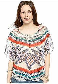Lucky Brand Tribal Print Chiffon Butterfly Top