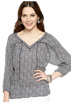 Lucky Brand Block Print Peasant Top