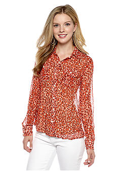 Lucky Brand Cheetah Print Button Down Shirt