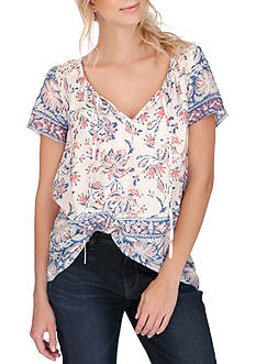 Lucky Brand Printed Border Blouse
