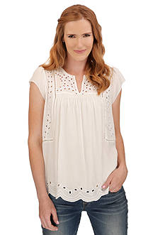 Lucky Brand Cutout Embroidered Top