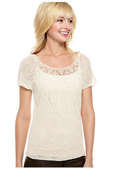 Lucky Brand Figi Short Sleeve Pointelle Sweater
