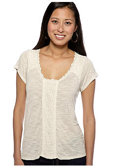 Lucky Brand Nania Lace Inset Top