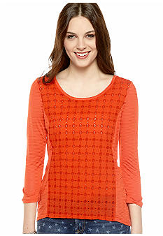 Lucky Brand Ellis Lace Front Top with Hi Low Hemline