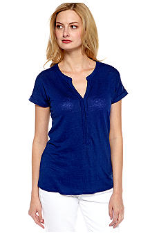 Lucky Brand Extended Shoulder Placket Tee