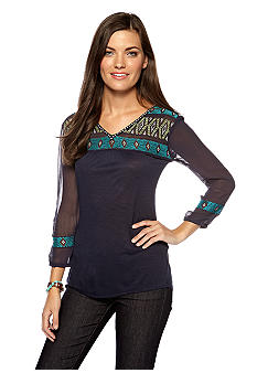 Lucky Brand Maybelle Embroidered Top with Sheer Detail