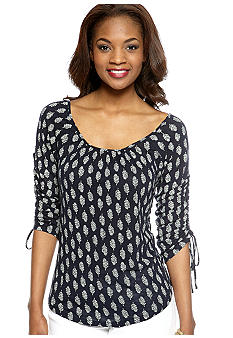 Lucky Brand Feather Print Tie Sleeve Top