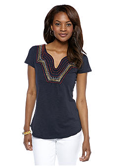 Lucky Brand Sandra Embellished Split Neck Top