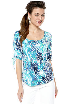 Lucky Brand Watercolor Printed Top with Rouched Sleeves