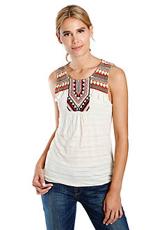 Lucky Brand Fringe Embroidered Top