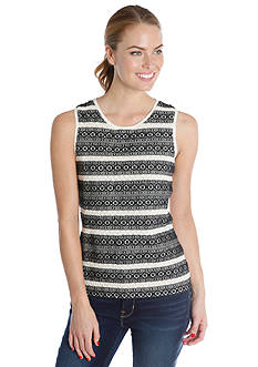 Lucky Brand Stripe Embroidered Tank
