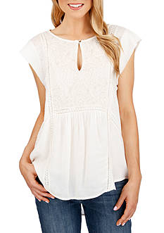 Lucky Brand Mixed Fabric Shell
