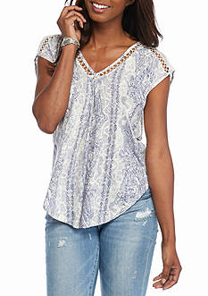 Lucky Brand Inset Lace Top
