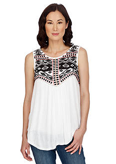 Lucky Brand Sleeveless Embroidered Shell