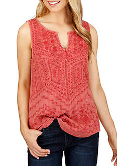 Lucky Brand Embroidered Shell Tank Top