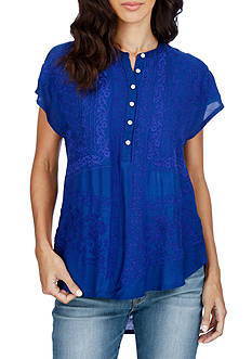 Lucky Brand Mixed Laced Top