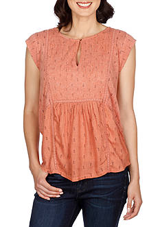 Lucky Brand Printed Mixed Fabric Shell Top