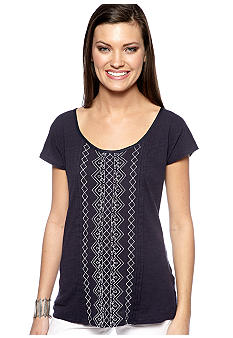 Lucky Brand Lillian Embroidered Tee with Button Up Back