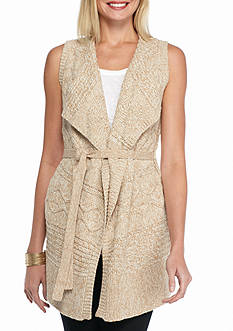 Cable & Gauge Long Cable Knit Sweater Vest