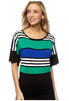Cable and Gauge Stripe Dolman Sweater