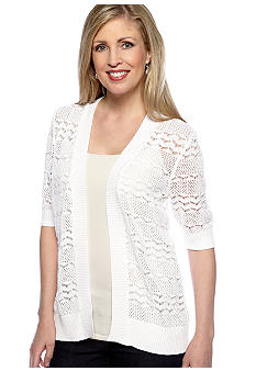 Cable and Gauge Pointelle Open Cardigan