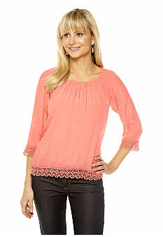 Spense Crochet Trim Peasant Top