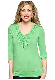 Cable and Gauge Soutache Knit Top