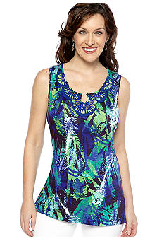 Cable and Gauge Beaded Printed Tunic