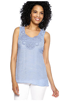 Spense Crochet Chambray Top