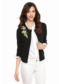 Cable and Gauge Embroidered Flower Cardigan
