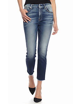 7 For All Mankind Crop High Waist Straight Leg Jean