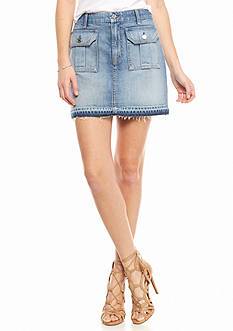 7 For All Mankind Flap Pocket Denim Mini Skirt
