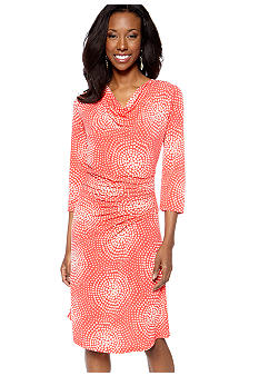 ECI Dotted Faux Wrap Dress