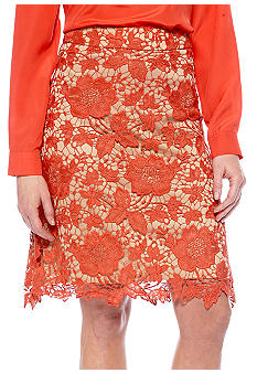 ECI Lace Overlay Pencil Skirt