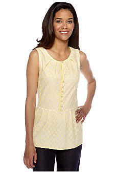 ECI Sleeveless Lace Peplum Blouse