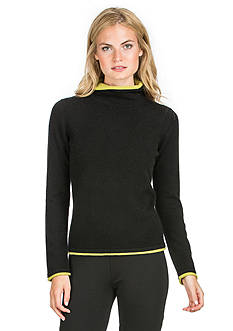 Ply Cashmere™ Turtleneck Double Layer Trim Pullover Sweater