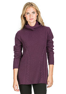 Ply Cashmere™ Turtleneck Cable Pullover Sweater