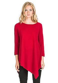 Ply Cashmere™ Scoop Neck Handkerchief Hem Tunic Sweater