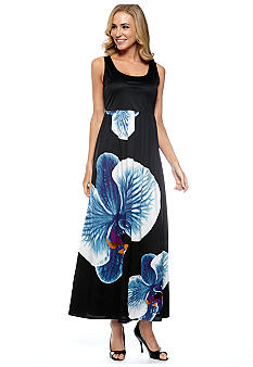Grace Elements Printed Bottom Maxi Dress