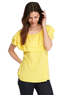 Grace Elements Solid Ruffle Neck Top