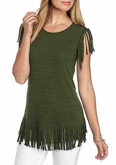 Grace Elements Knit Fringe Top