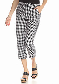 Grace Elements Gingham Linen Capri Pants