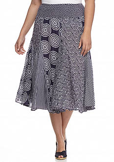 Grace Elements Plus Size Mixed Print Full Skirt