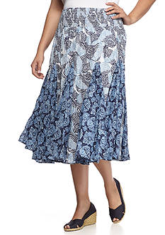Grace Elements Plus Size Paisley Print Full Skirt