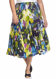 Grace Elements Plus Size Printed Full Skirt